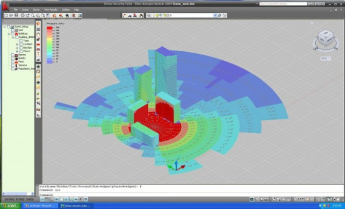 Urban Security Suite, 2009. Bomb blast calculation. ESI Security Technology software.